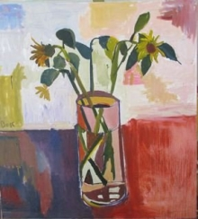 Sunflowers in Cylinder Vase